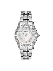 96L116 Womens Stainless Steel Crystal Watch