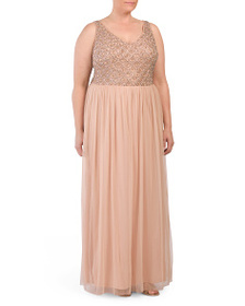 ADRIANNA PAPELL Plus Sleevless Draping Skirt Gown
