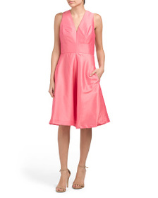 ALFRED SUNG V-neck Dress With Pockets