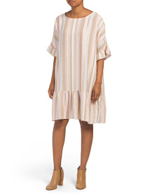 BELLA AMBRA Made In Italy Linen Blend Striped Dres