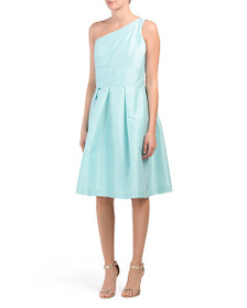 ALFRED SUNG One Shoulder Dupioni Dress