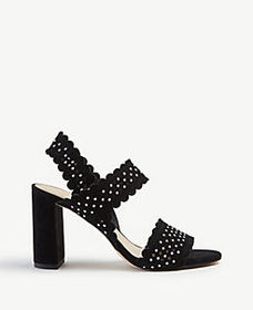 Lorna Studded Perforated Suede Heeled Sandals
