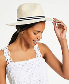 Striped Band Straw Fedora
