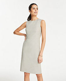 The Pleated-Waist Sheath Dress in Crosshatch