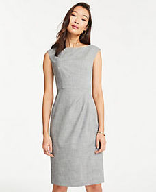 Boatneck Sheath Dress in Crosshatch