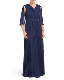 KAY UNGER Pleated Capelet Dress