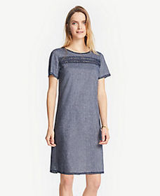 Embroidered Chambray Shift Dress