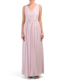 DESSY COLLECTION Lux Chiffon V-neck Gown