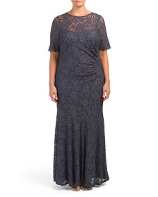 DECODE 1.8 Plus Short Sleeve Glitter Lace Gown