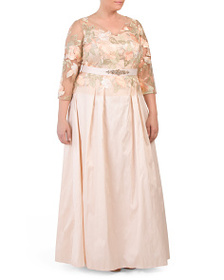 ADRIANNA PAPELL Plus V-neck Gown