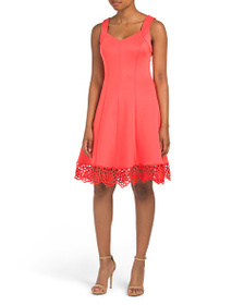 DONNA RICCO V-neck Solid Fit And Flare Dress