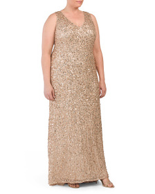 ADRIANNA PAPELL Plus V-neck Sleeveless A-line Gown
