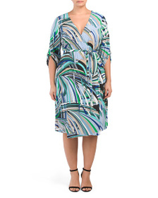 ADRIANNA PAPELL Plus Abstract Striped Wrap Dress