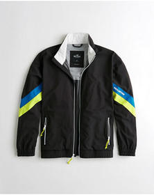 Hollister Mesh-Lined Full-Zip Windbreaker, BLACK