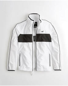 Hollister Mesh-Lined Full-Zip Windbreaker, WHITE