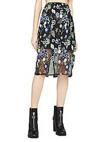 BCBGeneration Floral Embroidered Skirt NAVY COMBO