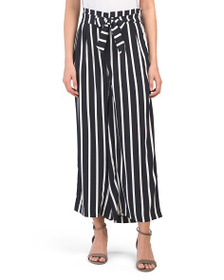 PHILOSOPHY Pull On Striped Pants With Tie Belt