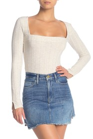 Free People Beside Me Ribbed Knit Bodysuit