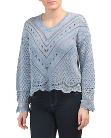 DESIGN HISTORY V-neck Sweater With Scalloped Edges
