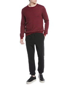 Vince Men's Striped Wool/Cashmere Crewneck Sweater
