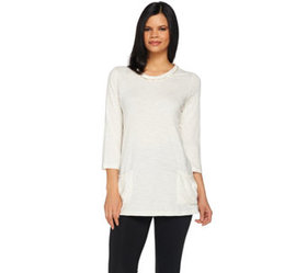 """""""As Is"""" LOGO by Lori Goldstein Knit Top with Pocke"""