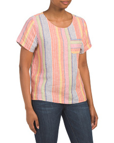 C&C Linen Yarn Dyed Striped Hi-lo Hem Top