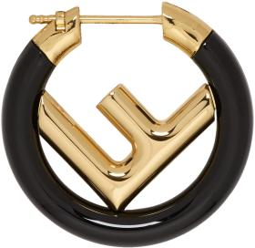 Fendi Black & Gold Mini 'F is Fendi' Hoop Earring
