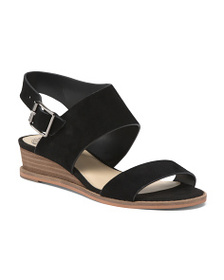 VINCE CAMUTO Stacked Wood Wedged Suede Sandals