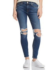 7 For All Mankind - Ankle Skinny Jeans in Blue Mon