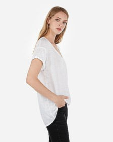 Express burnout rolled sleeve wedge tee