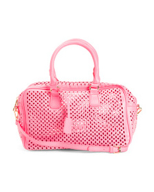 JOSEPH D'AREZZO Perforated Bowler Bag With Shoulde