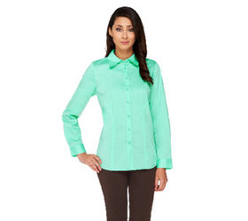 """""""As Is"""" Susan Graver Stretch Woven Long Sleeve But"""