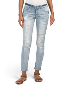 DOLLHOUSE Juniors Low Rise Destructed Cuffed Jeans