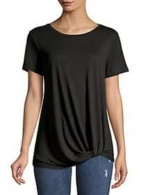Lord & Taylor Petite Twisted-Front Tee BLACK