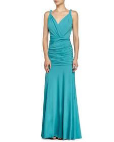 Halston Sleeveless Ruched Evening Gown Caribbean