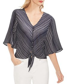 VINCE CAMUTO - Striped Tie-Front Top