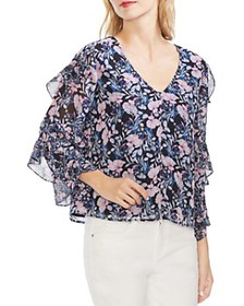 VINCE CAMUTO - Floral Ruffle-Sleeve Blouse