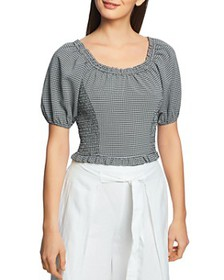 1.STATE - Checked Puff-Sleeve Top