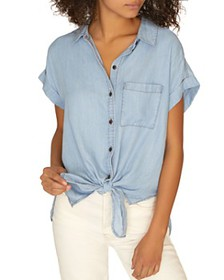 Sanctuary - Mod Chambray Tie-Front Top