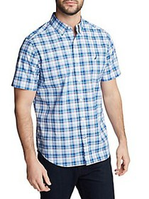 Nautica Plaid Short-Sleeve Shirt TRUE BLUE