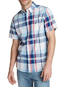Nautica Plaid Short-Sleeve Shirt BRIGHT WHITE