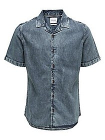 Only and Sons Acid Washed Shirt WASHED BLUE