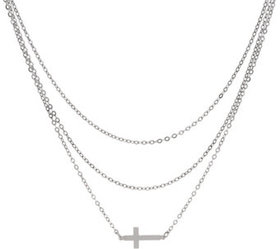 """""""As Is"""" Italian Silver Cross Motif Layered Necklac"""