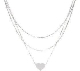 """""""As Is"""" Italian Silver Heart Motif Layered Necklac"""