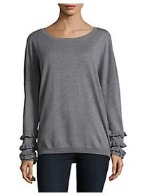 Lord & Taylor Long Ruffle-Sleeve Sweater PEWTER HE
