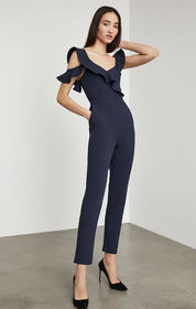 BCBG One Shoulder Ruffle Jumpsuit