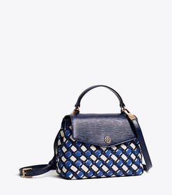 Tory Burch ROBINSON WOVEN SMALL TOP-HANDLE SATCHEL
