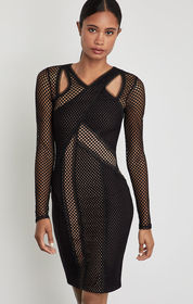 BCBG Jaylynn Mesh Patchwork Dress