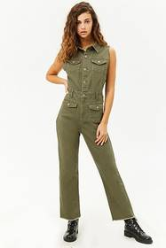 Forever21 Sleeveless Button-Front Denim Jumpsuit