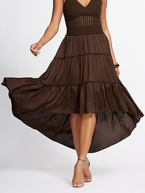 Brown Hi-Lo Tiered Maxi Skirt - Gabrielle Union Co